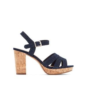 Sandales denim à talon liège CASTALUNA