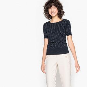 Kurzärmeliger, getupfter Pullover, runder Ausschnitt MADEMOISELLE R