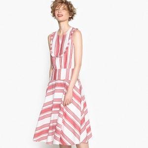 Платье в полоску с воланами по низу и застежкой на пуговицы MADEMOISELLE R