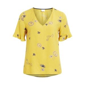 Bedrukte blouse met V-hals en korte mouwen VILA