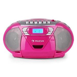 KrissKross Lecteur CD-K7 portable USB MP3 CD -rose AUNA