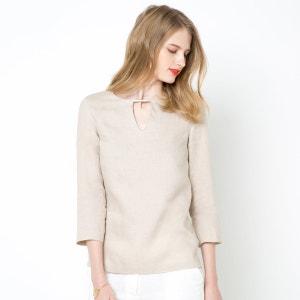 Rechte blouse met 3/4 mouwen in linnen R essentiel