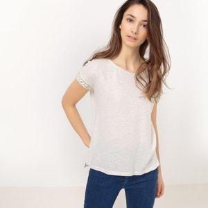 T-shirt com gola redonda, lisa SUNCOO
