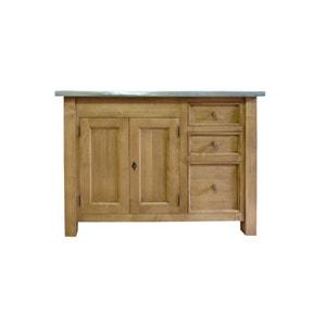 Meuble de cuisine 2 portes 3 tiroirs en pin massif et plateau métal  |  N240Z MADE IN MEUBLES