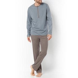 Cotton Jersey Pyjamas with Grandad-style Neckline La Redoute Collections