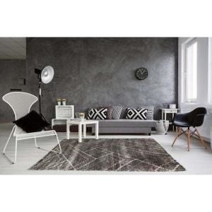 Tapis scandinave shaggy géométrique gris foncé Novak DELADECO