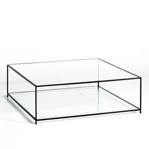 Mesa baja cuadrada con vidrio templado Sybil