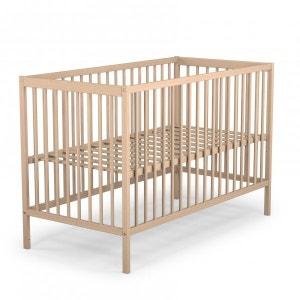 Lit bébé hauteur réglable bois brut 60x120 - Terre de Nuit TERRE DE NUIT