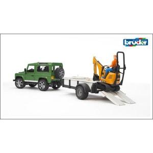 Bruder 2593 Land Rover Defender avec remorque, excavatrice JBC 8010 CTS et figurine BRUDER