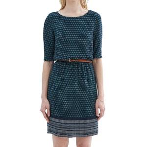 Bedrucktes Kleid mit kurzen Ärmeln und Gürtel ESPRIT