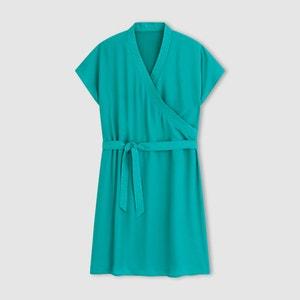 Short-Sleeved Plain Wrap Effect Dress R essentiel