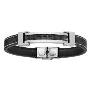 Bracelet 21,5 cm Longueur Réglable Cuir Noir Plaque Quadrillage Acier Inoxydable SO CHIC BIJOUX