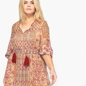 Bedrukte lange jurk met lange mouwen CASTALUNA