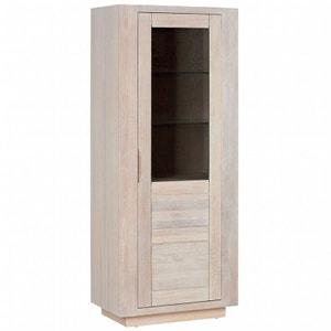 Vaissellier chêne massif 1 porte vitrée MANILLE PIER IMPORT