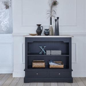 Table Console en bois d'acajou et teck - Bibliothèque basse - Largeur 95 cm - Coloris Noir - LONDRES BOIS DESSUS BOIS DESSOUS