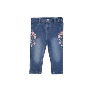 Slim-Fit-Jeans, Blumenstickereien, 1 Monat - 3 Jahre La Redoute Collections