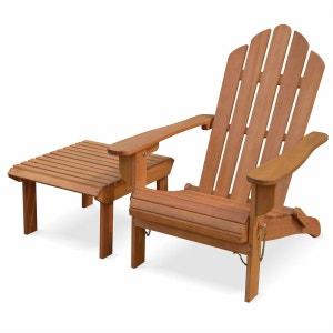 Fauteuil de jardin en bois Adirondack Salamanca eucalyptus FSC avec repose-pieds et table basse, style retro ALICE S GARDEN