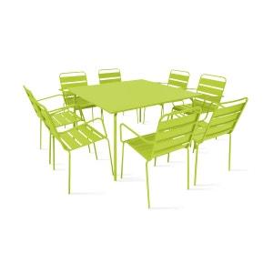 Table de jardin carrée et 8 fauteuils en métal BOUTIQUE-JARDIN