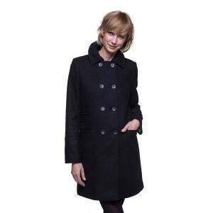 Manteau noir en drap de laine TRENCH AND COAT
