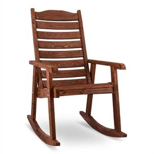 Alabama Fauteuil à bascule Chaise de jardin Bois massif Marron BLUMFELDT