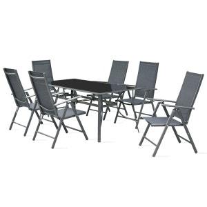 Table de jardin en aluminium et verre et 8 fauteuils pliants OVIALA