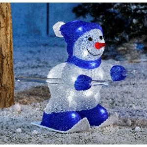 Bonhomme de neige à ski bi-colore - Extérieur ou intérieur – Acrylique givré lumineux - Décoration Noël LED TARRINGTON HOUSE