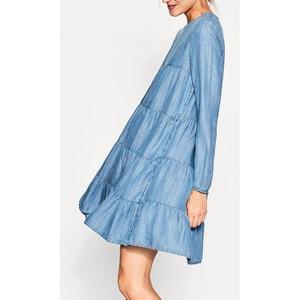 Wijduitlopende korte effen jurk met lange mouwen ESPRIT
