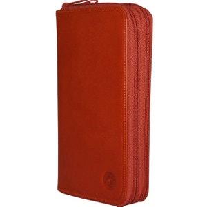 Portefeuille cuir orange CHAPEAU-TENDANCE