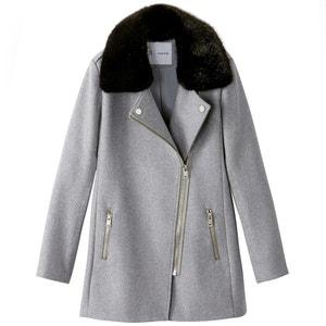 Coat with Faux Fur Collar R essentiel