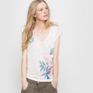 Swimming Blossom Floral Print Linen T-Shirt FREEMAN T. PORTER