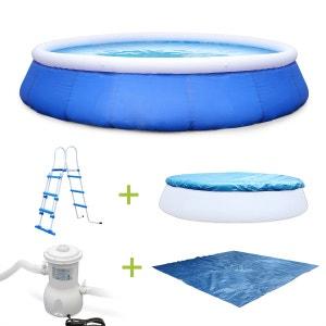 Kit piscine Emeraude  Ø450x90cm gonflable bleue, autoportante ovale avec pompe d ALICE S GARDEN