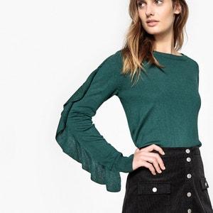 Sweter z okrągłym wycięciem szyi z falbankami La Redoute Collections