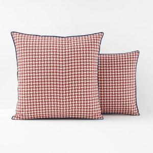 Fronha de almofada reversível em percal de algodão, Cravate rosa La Redoute Interieurs