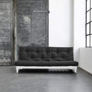 Pack futon latex gris anthracite 140x200   banquette fresh bois blanc TERRE DE NUIT