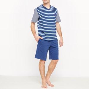 Pijama curto às riscas, puro algodão ATHENA
