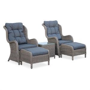Fauteuils relax (x2) en résine tressée ronde avec repose pieds et table basse ALICE S GARDEN