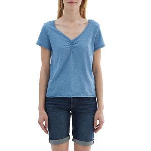 Camiseta lisa con cuello de pico ESPRIT