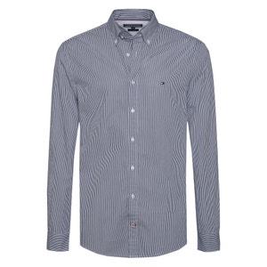 Gestreept recht hemd in 100% katoen