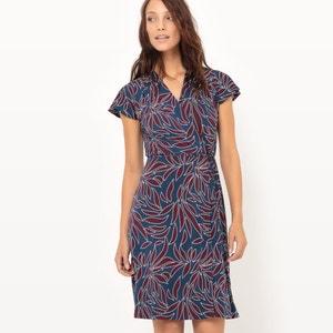 Vestido cruzado con estampado de vegetación atelier R