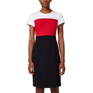 Driekleurige rechte jurk met korte mouwen ESPRIT