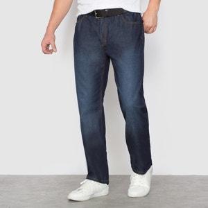 Lichte jeans met 5-pockets, elastische taille, recht model CASTALUNA FOR MEN
