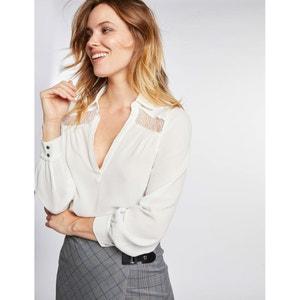 Soepele blouse met V-hals en details in kant