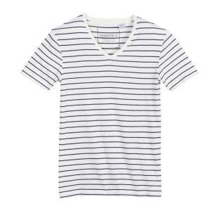 T-shirt col V rayé manches courtes R Edition