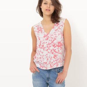 Camiseta con cuello de pico, estampado flores SUNCOO