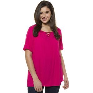 Plain Straight Cut Round Neck Blouse with Short Sleeves ULLA POPKEN