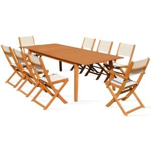 Table de jardin en bois extensible 2 fauteuils et 6 chaises 200-250cm BOUTIQUE-JARDIN
