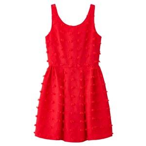 Ärmelloses Kleid, ausgestellte Form, Stickerei und Pompons MOLLY BRACKEN