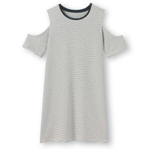 Gestreepte jurk met blote schouders R pop