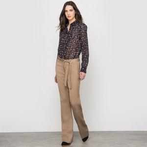 Linen Blend Wide Leg Trousers with Tie Belt ESPRIT