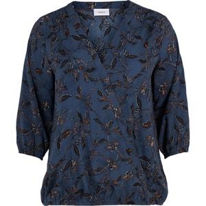Bedrukte blouse met V-hals en 3/4 mouwen ZIZZI
